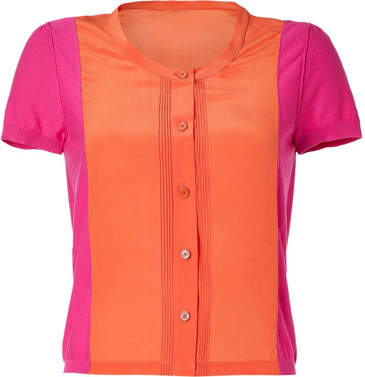 Sonia Rykiel Sonia by Fuchsia/Orange Cotton-Silk Top