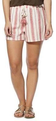 F&F Striped Tassel Drawstring Linen-Blend Shorts 12