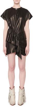 Isabel Marant Asymmetric-Front Short-Sleeve Lamb Leather Mini Dress