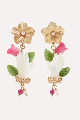 Of Rare Origin - Bud Gold Vermeil Multi-stone Earrings