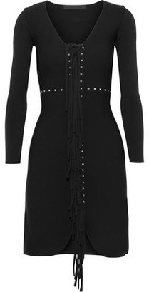 Alexander Wang Fringed Studded Stretch-Knit Mini Dress