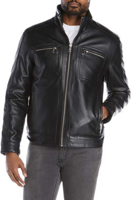 Cole Haan Faux Leather Moto Jacket