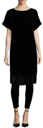 Eileen Fisher Short-Sleeve Washable Velvet Step Dress $338 thestylecure.com