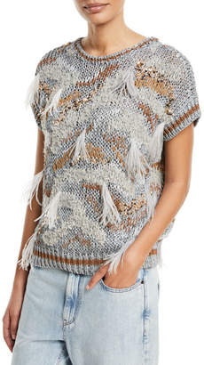 Brunello Cucinelli Waxed Cotton-Linen Cap-Sleeve Flame-Tribal Pattern Pullover Sweater