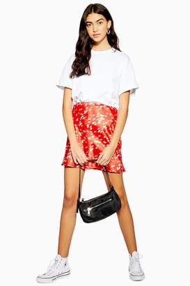 Topshop Womens Red Spot Satin Bias Mini Skirt - Red