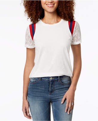 Rebellious One Juniors' Lace-Sleeve Striped-Shoulder Top