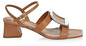 Roger Vivier Women's Metal Buckle Leather Sandals