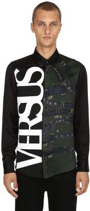 Versus Belts & Logo Printed Silk Satin Shirt