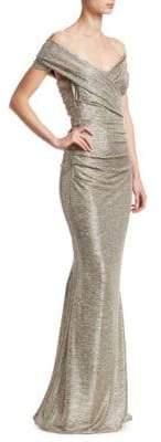 Talbot Runhof Off-The-Shoulder Metallic Gown