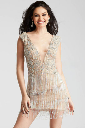 Jovani - 53095 Beaded Plunging Fringe Cocktail Dress $640 thestylecure.com