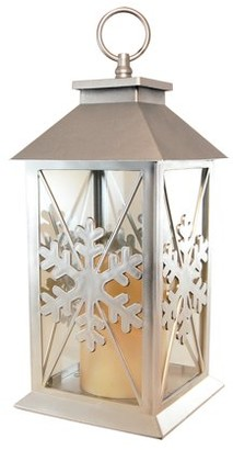 LumaBase Silver Snowflake Lantern with Battery Operated Candle and Timer