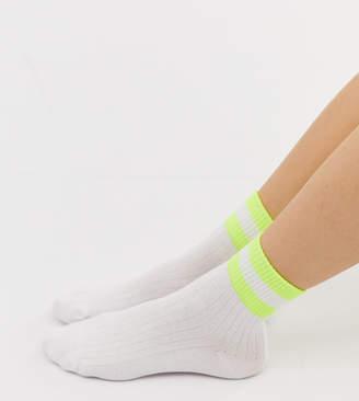 Monki sport socks with neon stripes in white