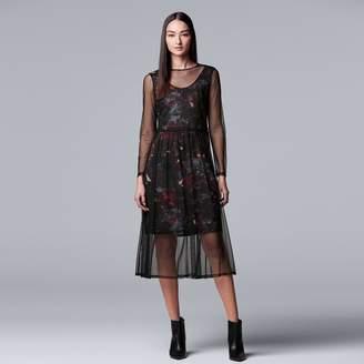 Vera Wang Women's Simply Vera Floral Mesh Overlay Dress