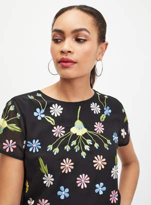 6d5ae86d Miss Selfridge Black Floral Embroidered T-Shirt