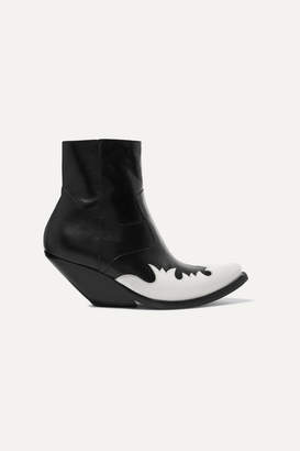 Vetements Kick-ass Two-tone Leather Ankle Boots - Black