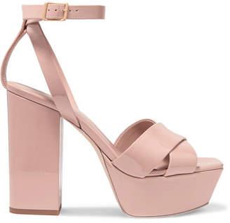 Saint Laurent Farrah Patent-leather Platform Sandals