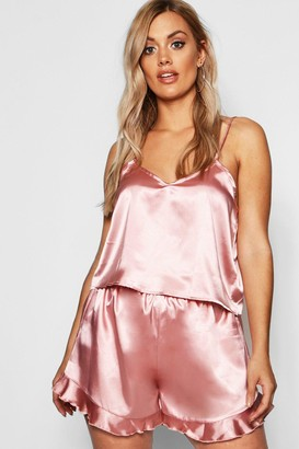 boohoo Plus Satin Ruffle Cami Pyjama Set