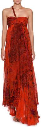 Etro Asymmetric One-Shoulder Silk Gown