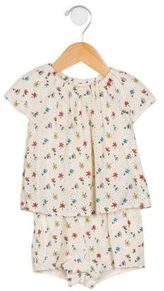 Chloé Girls' Eyelet-Accented Printed All-In-One