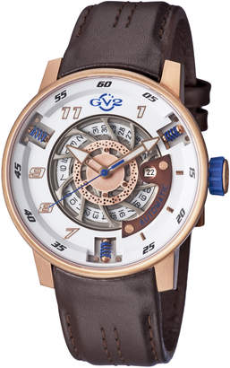 Gv2 1302 Motorcycle Sport Rose Gold-Tone & Brown Watch