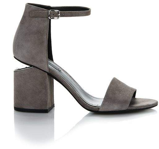 Alexander Wang EXCLUSIVE ABBY SUEDE SANDAL WITH RHODIUM Heels