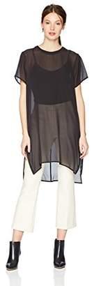 True Religion Women's Zip Detail Sheer Silk Tunic