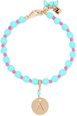 Rosantica Segno Alphabet Gold-tone Beaded Bracelet - Blue