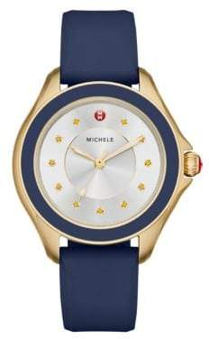 Michele Cape Honey Topaz, Goldtone Stainless Steel& Silicone Strap Watch/Navy