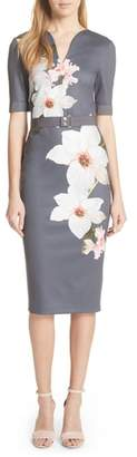 Ted Baker Floral Print Belted Body-Con Dress