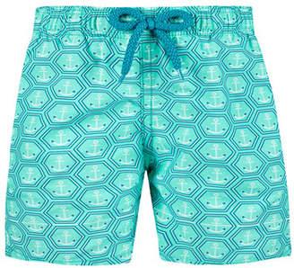 Vilebrequin Jim Honeycomb Anchor Print Swim Trunks, Size 2-14