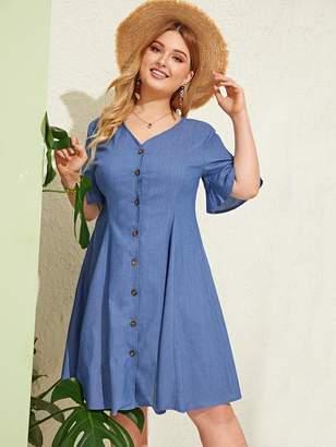 Shein Plus Button Through Denim Dress