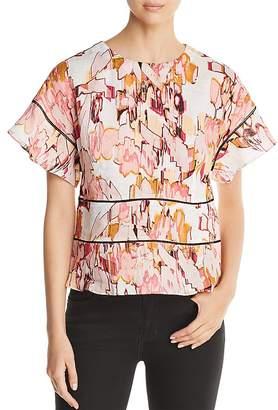 Donna Karan Floral-Print Linen Top