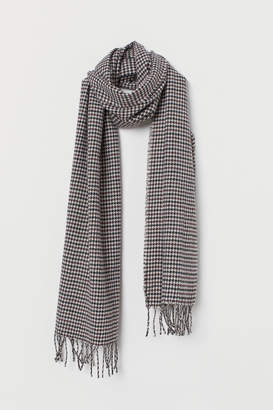 H&M Houndstooth-patterned Scarf - Brown