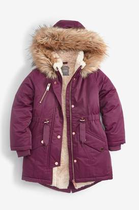 Next Girls Berry Shower Resistant Faux Fur Trimmed Parka (3-16yrs) - Purple