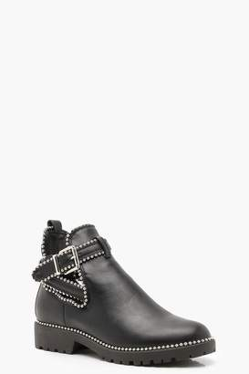 boohoo Stud Trim Chelsea Cut Work Chunky Boots
