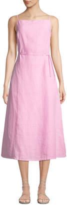 Tomas Maier Sleeveless Square-Neck Linen Midi Dress