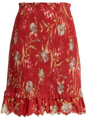 Zimmermann Corsair Iris Shirred Linen And Cotton Blend Skirt - Womens - Red Multi