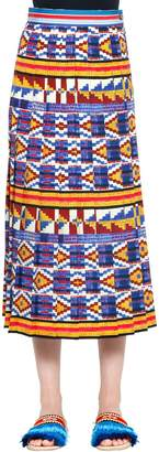 Stella Jean Geometric Printed Pleasted Midi Skirt