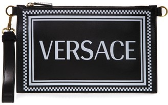 Versace Black Leather Clutch With Logo