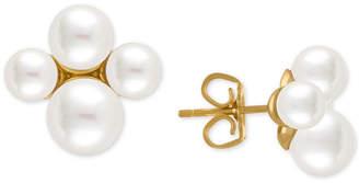 Majorica Gold-Tone Imitation Pearl Cluster Stud Earrings
