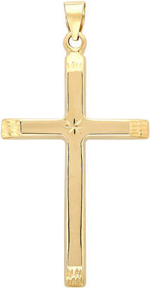 JCPenney FINE JEWELRY 14K Yellow Gold Star-Detail Cross Charm