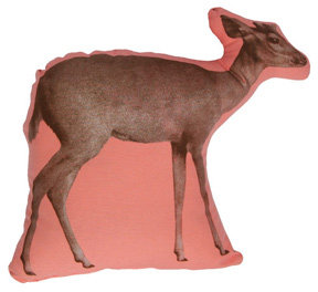 Areaware Deer Mini Pillow - Brown on Pink