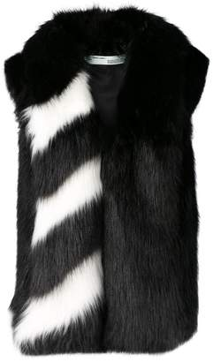 Off-White faux-fur stripe contrast gilet