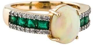 Ring 14K Opal, Emerald & Diamond