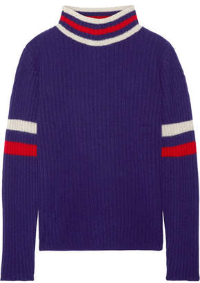The Elder Statesman Odyssey Striped Ribbed Cashmere Turtleneck Sweater - Royal blue