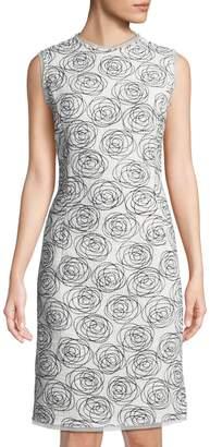 Oscar de la Renta Rose-Embroidered Pencil Dress