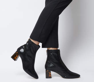 Office All Day Back Zip Block Heel Boots Black Snake Leather Marble Heel