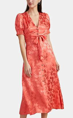 Saloni Women's Lea Bow-Front Floral Silk Jacquard Midi-Dress - Pink