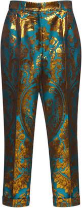 Dolce & Gabbana Metallic Jacquard Cropped Trouser