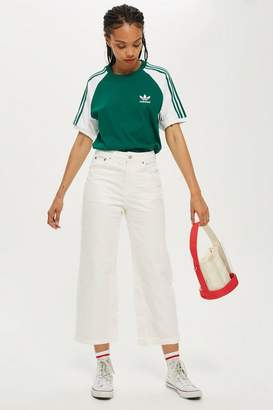 Topshop PETITE White Cropped Wide Leg Jeans